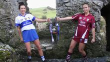 St. Martin's captain Marie-Claire Morrissey and her St. Vincent's counterpart, Ali Maguire, at the Rock of Dunamase near Portlaoise