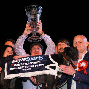A jubilant Eamonn Cleary with connections after Ballyanne Sim's famous win on Saturday night