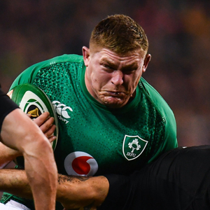 Tadhg Furlong is tackled by Codie Taylor during Saturday's epic encounter in the Aviva Stadium