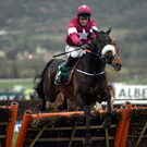 J.J. Slevin and Champagne Classic jump the last en route to victory in Cheltenham two years ago