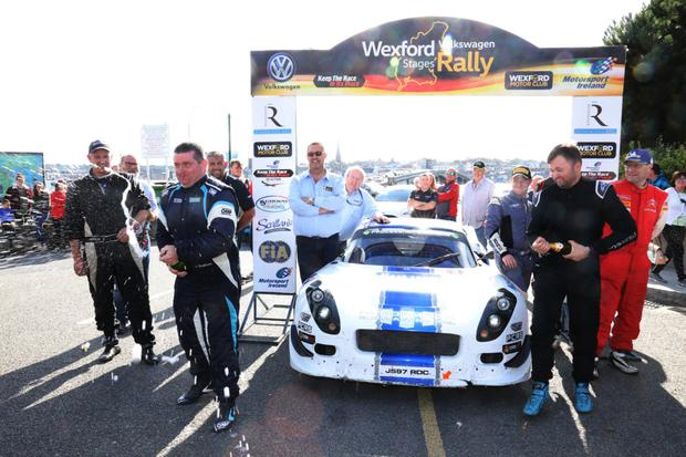 James Stafford and Jeff Case celebrating their rally win on Sunday