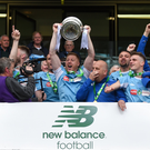 Overjoyed captain Paul 'Spot' Murphy lifts the FAI New Balance Junior Cup in the Aviva Stadium on Saturday