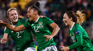 Wexford's Rianna Jarrett celebrating her first-ever goal for Ireland against Ukraine in Tallaght on Tuesday