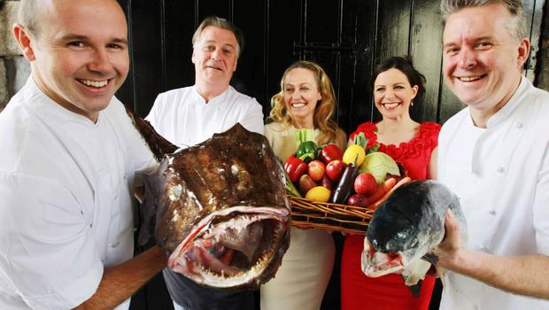 Oliver Dunne (left) with fellow chefs Derry Clarke, Catherine Fulvio, Clodagh McKenna and Ross Lewis
