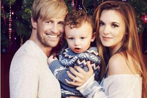 Kian Egan and Jodi Albert with their son Koa (three). Koa announced that he is going to be a big brother on Facebook