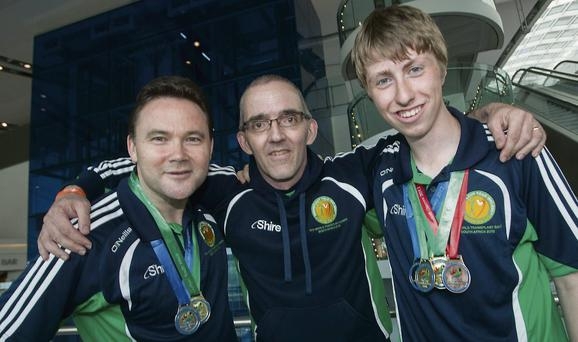 James Nolan, Colin White and Andrew Duncan after returning from Durban.