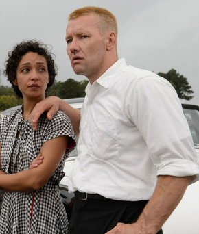 Ruth Negga as Mildred Loving, Joel Edgerton as Richard Loving in Loving