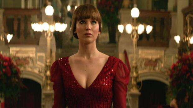 Jennifer Lawrence as Dominika Egorova in Red Sparrow.
