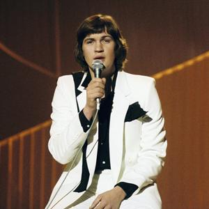Johnny Logan sings 'What's Another Year' at the Eurovision Song Contest in The Hague in 1980