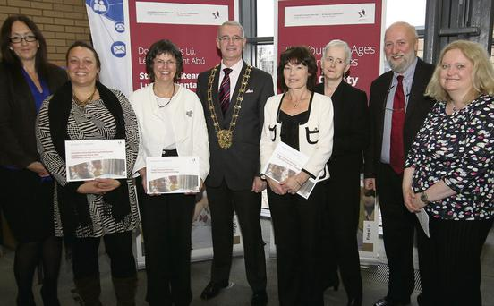 Fingal Libraries Staff pictured with Dr Ger French, childhood education specialist, Mayor of Fingal, Cllr Kieran Dennison and CEO of Barnardos, Fergus Finlay at the recent launch of the Fingal County Council Early Literacy Strategy.