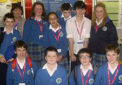 Ardgillan's 2012 finalists at the Young Scientist Exhibition and their teacher Theresa Gannon.