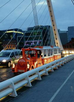 Toots the train on the Samuel Beckett Bridge