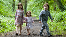 Willow and Esmé Lowndes with Killian O'Reilly at St Catherine's Park, exploring the park's new Fairy Trail. (pic by Fintan Clarke)