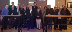 Ken Farrell with his supporters on announcing his retirement
