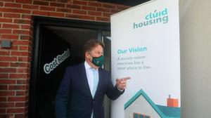 Minister Darragh O'Brien at the launch of the first cost rental homes in Balbriggan.
