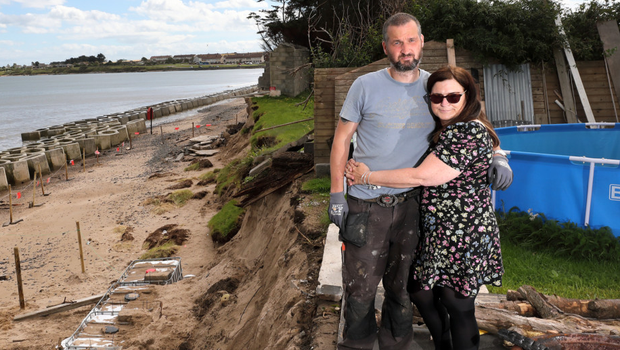 David and Sharon Shevlin at their erosion-threatened home. The Fingal Independent reported on their plight last week.(pic by Frank McGrath)