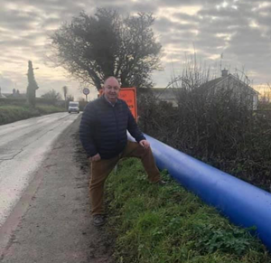 Cllr Tom O'Leary at the site of Irish Water works in Skerries