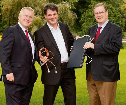 Darragh Richardson, MD of Agile Networks (centre), with Oisin Geoghegan, CEO of Fingal County Enterprise Board, and Joe Harford, Chairman of Fingal County Enterprise Board.