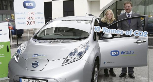 Sandra Flavin from Rush, a Dublin ecar ambassador, with Dermot McArdle, Head of ESB ecars.
