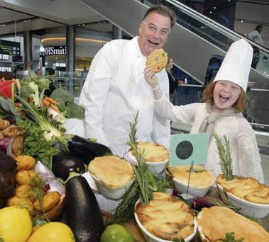 Chef Derry Clarke and junior chef Sophia Crawford and the launch of Dublin Airport's Irish Food Festival.