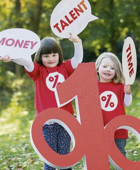 Sarah O'Connelland Daisy Hughes (3) at the launch of the One Percent Difference Campaign