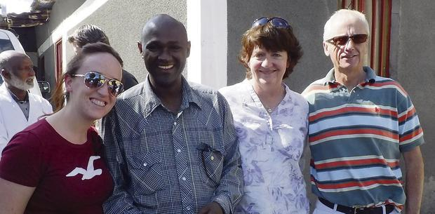 Siobhán O'Connor; Abraham Wanta, Assistant Country Director, Concern in Ethiopia; Frances O'Keeffe, Chairperson of Concern Council, and John Treacy, Olypmian and member of Concern Council