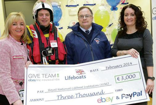 Pictured (from left) are Louise Phelan, Vice President of Global Operations for PayPal EMEA; David Knight and Ronnie Horan from the Skerries Branch of the RNLI and Hazel Mitchell, Director at eBay Global Customer Experience, Europe. The Skerries Branch of the RNLI was yesterday presented with a cheque for €3,000 from the eBay Inc. GIVE Foundation. Seventeen Irish charities have received funding totalling almost €45,000 from the GIVE Foundation in 2014.
