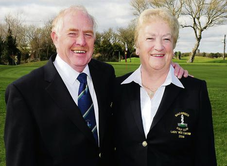 Vice-Captain Christy O'Driscoll and Lady Vice-Captain Maureen McEvoy at the Balcarrick Golf Club drive-in.