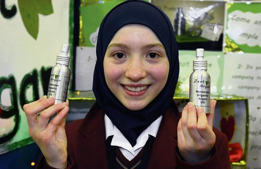 Junior winner Ihsan Kamil from Donabate CC and her mini-business, 'Jeet Argan'.