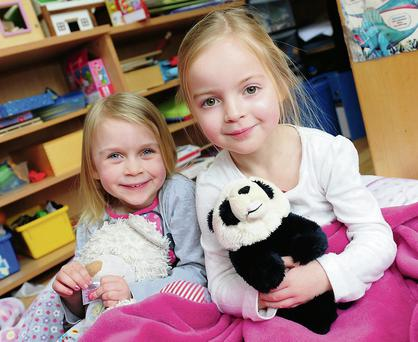 Lauren Bolton and Kate Mullen McNally at the Balrothery Montessori pyjama day
