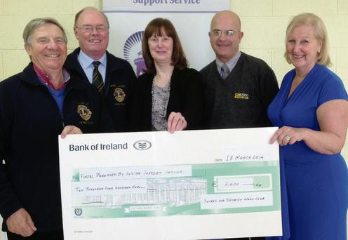 Swords Lions Club Treasurer John Boylan and President Maurice Kealy with Fingal Bereaved by Suicide Support Service Chairperson Ellen O'Brien, Treasurer Brian Kinsella and Carmel Condon.