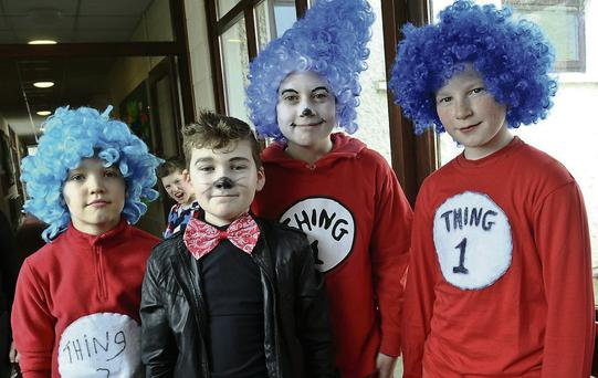 Nikolai, Conor, James, Cian at the dress rehearsals in St. Patrick's School, Donabate.