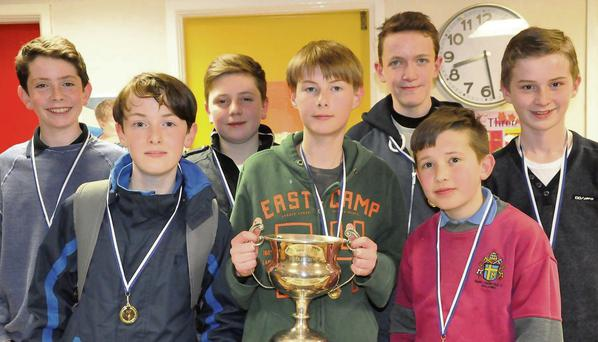 Gold medal winning Malahide Under 16 chess team (front from left) Jacob Flynn, Killian Burke, Ben Moriarity. (Back from left) David Deneher, Alessio Roselli, David Kearney and Paul Downey.