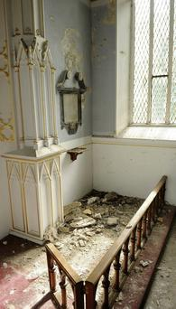 Damage to the interior of St. Columba's Church