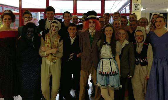 Some of the cast of Alice in Wonderland at Skerries Community College, including Sara Price, Liam Cummins (Caterpillar), Conor McGuiness (White Rabbit), Mike O'Hara (Lord Ascot), Philip O'Kelly, Sinéad McQuerins and Emma McGuire (Doormouse).