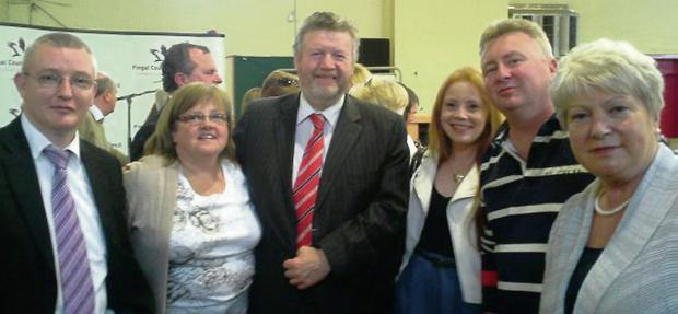 David Gavin, Miriam Dowling, Minister for Health Dr James Reilly, Dianne Sexton, Bob Morgan and Marie O'Toole at the Swords recount in Sluagh Hall in Swords.