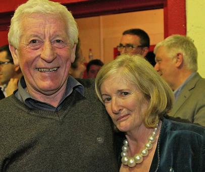 Cllr Anne Devitt is congratulated on her re-election by Michael Marron. Pic: Tim Ralph Photography