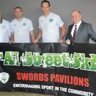 Michael Pender, FAI/Fingal County Council Development Officer, with Jonathan Walters, David Forde and Ian Hunter, Director of the Swords Pavilions Shopping Centre.