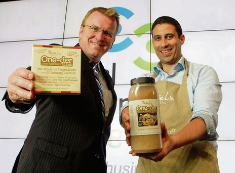 Oisin Geoghegan, Head of the Fingal Local Enterprise Office, with Raman Patel of Patel's Food Company.