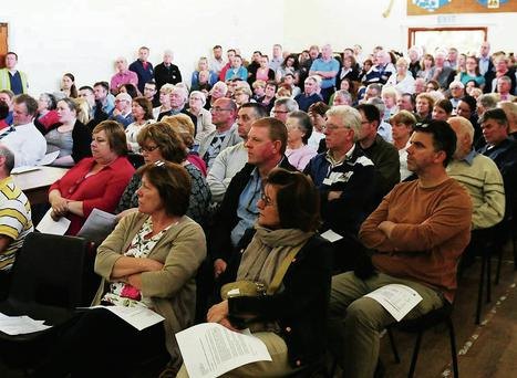 Residents attend the meeting in Lusk to discuss the 'anaerobic digestion' waste treatment plant