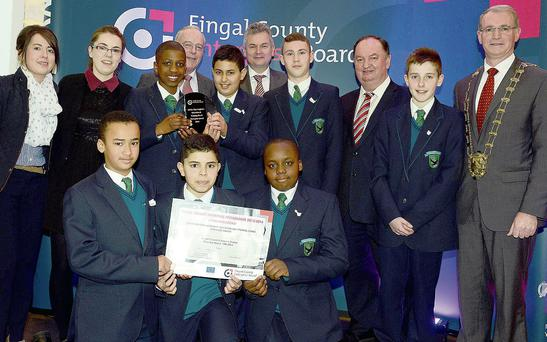 At the 13th annual Fingal Student Enterprise Awards County Final are the Dublin Dun Laoghaire Education and Training Board Enterprise Award for Secondary Schools winners from Lusk Community College