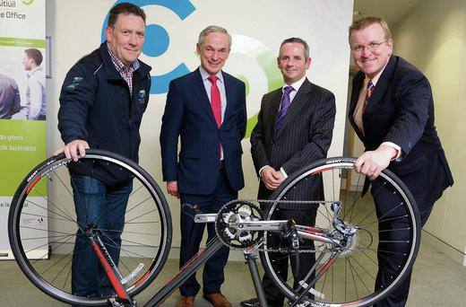 Patrick Cherrry, Chief Operations Officer at the Irish Centre for Cycling; Minister Richard Bruton; Chief Executive of Fingal County Council, Paul Reid; and Oisin Geoghegan, Head of Fingal Local Enterprise Office, making the jobs announcement.