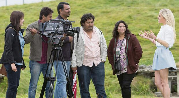 TV presenter Olivia Cox (right) being filming for Indian travel TV channel travelxp HD, watched by (from left) Karen Goggin, Fáilte Ireland; cameraman Abhishek Surendra Jain; director Joseph Panikulan; producer Santosh Singh; and Arundhati Sawant, Tourism Ireland.