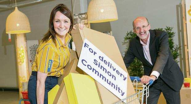 Grainne Breen from IKEA Dublin and Patrick Quinn of the Simon Community at the launch of the Simon Community and IKEA charity partnership.