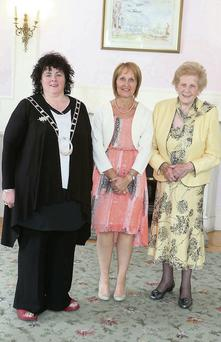 Elaine Finnegan from Garristown with Liz Wall, President of the ICA, and Anna May McHugh of the National Ploughing Association