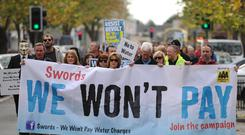 Water charge protesters in Swords