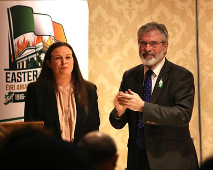 Louise O'Reilly and Sinn Fein president Gerry Adams