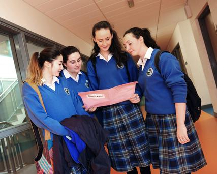 Leaving Certs Vanessa Csaszar, Caoimhe Ludden, Roisin McGuinness and Rebecca Elliott at Ardgillan Community College