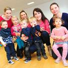 Volunteers Catherine Rafferty with twins Darragh and Senan, Elaine and Ava McCauley, Sharlene and Fabian Rocca, Leva Akmen, Tina and Melanie