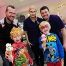 Brian Campbell, Jake and Ben with Ieva Sosnovskyte and Aidan Bissett at the Morellis Ice-Cream Parlour in Balbriggan for the family fun day in aid of North County Outreach